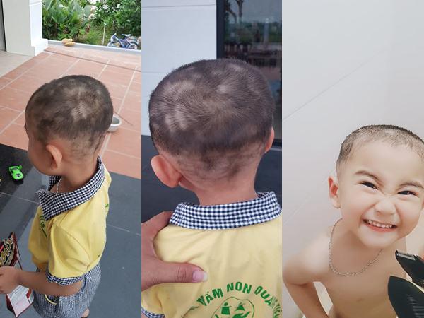 Ngại bế con ra cửa hàng cắt tóc, ông bố trẻ chơi lớn tự mình cầm kéo và cái kết khiến bạn bè người thân 'cạn lời' - Ảnh 2