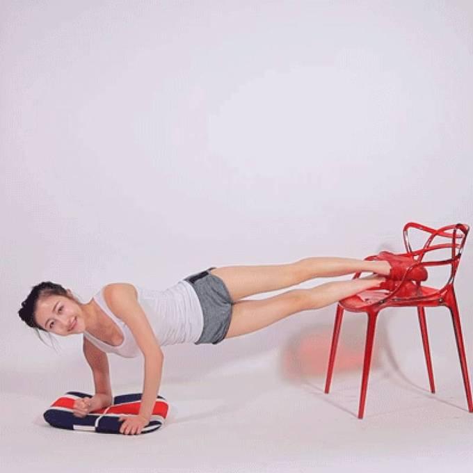8 động tác với ghế cho đôi chân thon gọn - Ảnh 3