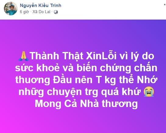 Diễn viên Kiều Trinh bị di chứng sau tai nạn, quên sạch quá khứ khiến fan lo lắng - Ảnh 2