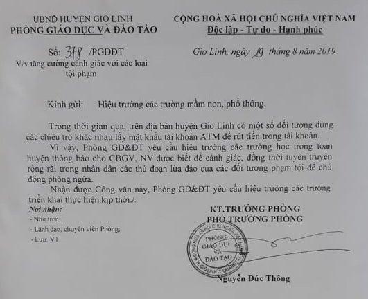 Giáo viên ở Quảng Trị bị đối tượng lạ doạ đuổi việc, lừa tài sản? - Ảnh 3