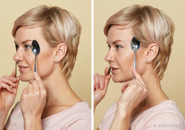 Dùng muỗng mát xa mặt theo phương pháp này, xóa mờ toàn bộ nếp nhăn giúp làn da căng mịn, trẻ hóa sau 2 tuần - Ảnh 4