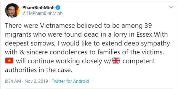 Phó Thủ tướng chia buồn với gia đình các nạn nhân thiệt mạng ở Anh - Ảnh 1