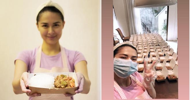 Ủng hộ công tác chống dịch bệnh, 'mỹ nhân đẹp nhất Philippines' Marian Rivera tự tay nấu 200 suất cơm cho đội ngũ y tế - Ảnh 4
