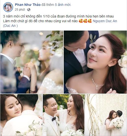 Phan Như Thảo kỷ niệm 3 năm tình yêu bên đại gia Đức An - Ảnh: FB