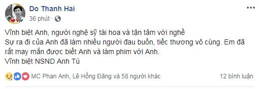 Sao Việt bàng hoàng, thương tiếc trước sự ra đi đột ngột của NSND Anh Tú - Ảnh 2