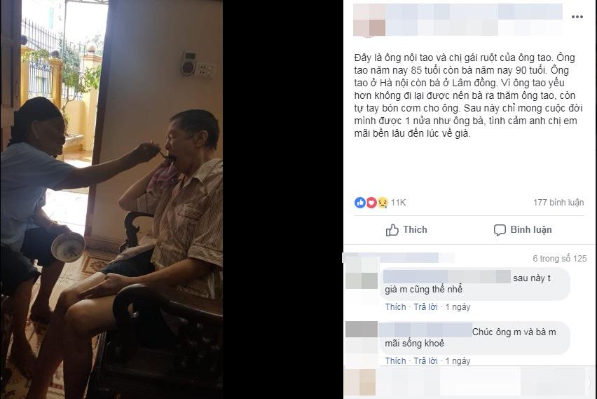 Bị bệnh, cụ ông 85 tuổi được chị gái 90 tuổi đút từng muỗng cơm khiến nhiều người xúc động - Ảnh 2