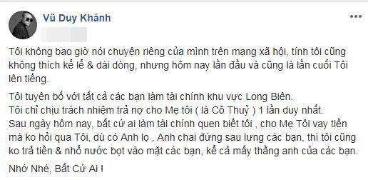 Vũ Duy Khánh lên tiếng về việc nợ nần của mẹ: 'Sau ngày hôm nay nếu ai còn cho mẹ tôi vay tiền, tôi không trả' - Ảnh 1