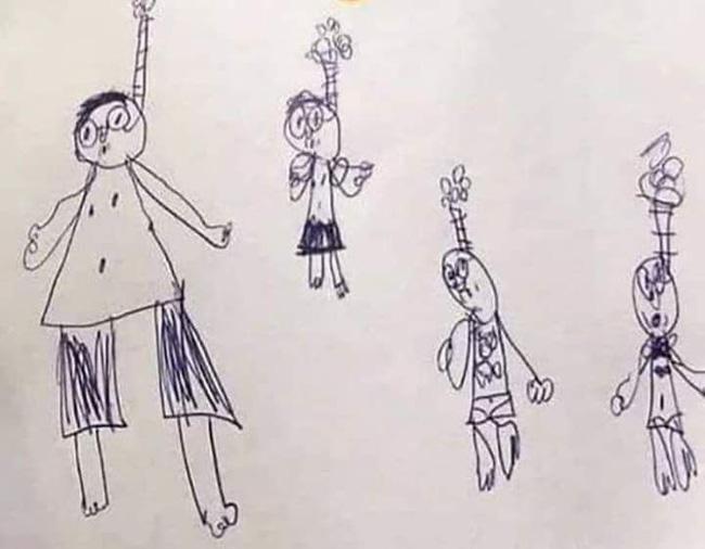 Cậu bé vẽ tranh cả gia đình trong tư thế treo cổ nhưng khi biết lý do thật phía sau, ai cũng phải cười 'haha' - Ảnh 1