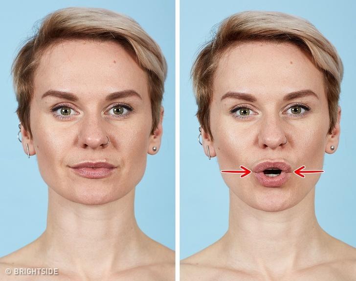 7 bài tập cho khuôn mặt làm nếp nhăn biến mất, làn da căng mịn giúp phụ nữ trẻ ra cả chục tuổi - Ảnh 3