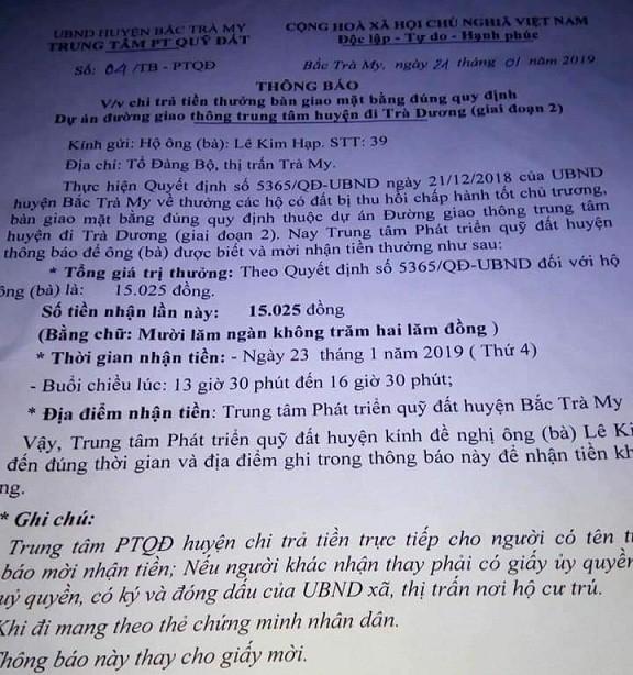Quảng Nam: Xôn xao việc khen thưởng 15.025 đồng - Ảnh 1