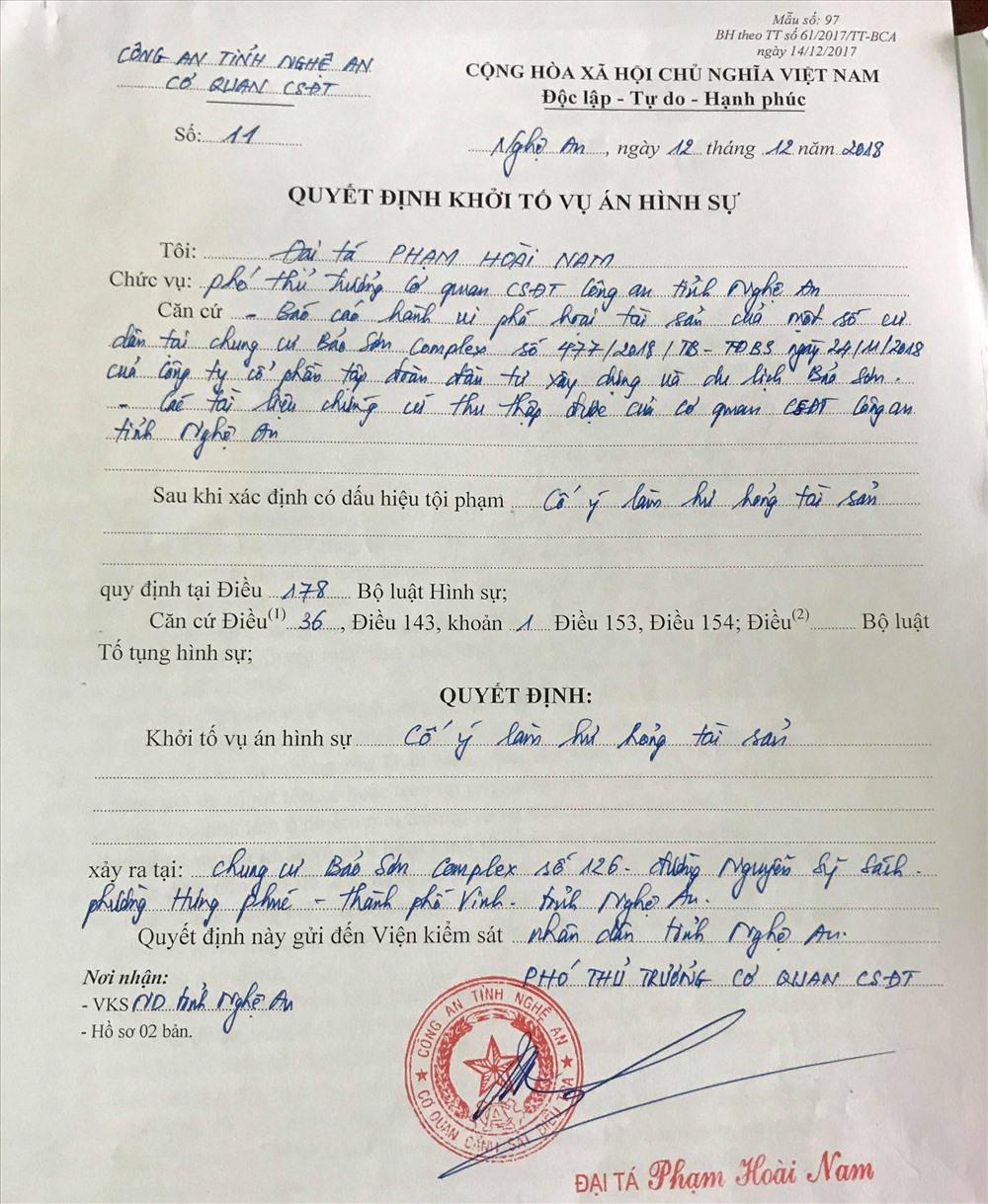"""Lùm xùm tại chung cư Bảo Sơn: Khởi tố vụ án """"cố ý làm hư hỏng tài sản"""" - Ảnh 3"""