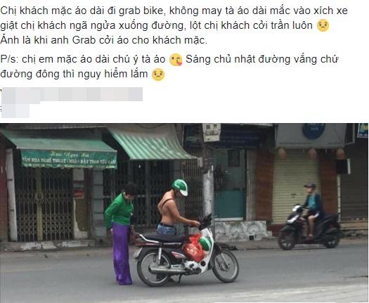 Khách bị vướng tà áo dài vào xích xe, hành động của tài xế GrabBike khiến nhiều người thấy đời vẫn còn dễ thương - Ảnh 1