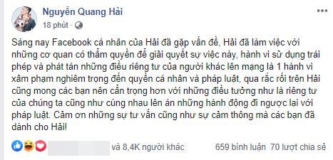 Khắp MXH rộ tin Quang Hải bị hacker tấn công Facebook, đăng nhiều trạng thái cùng tin nhắn nhạy cảm về chuyện yêu đương và chính Quang Hải đã vừa lên tiếng ngay sau đó - Ảnh 2