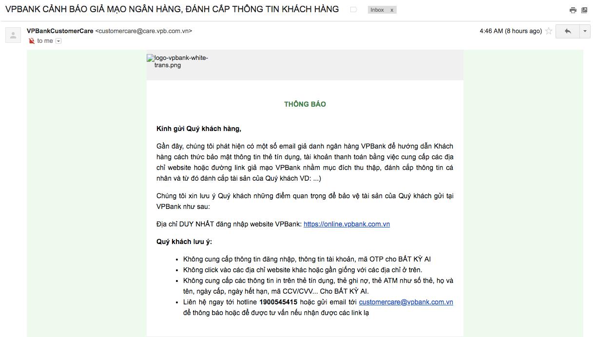 VPBank lên tiếng về email giả danh được gửi cho khách hàng để đánh cắp thông tin thẻ tín dụng - Ảnh 3