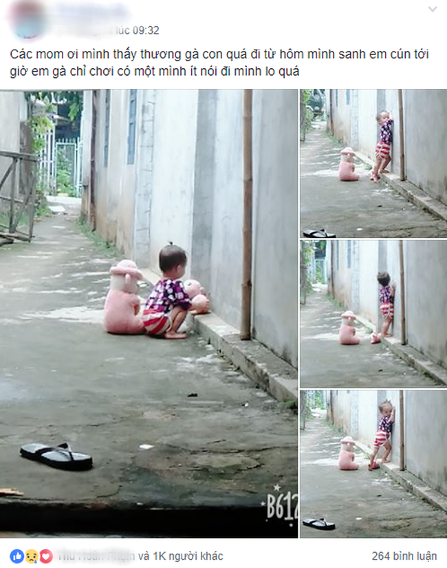 Hình ảnh bé gái vừa tròn tuổi tha thẩn chơi một mình khi mẹ chăm em khiến trái tim những mẹ đông con nhói đau - Ảnh 1