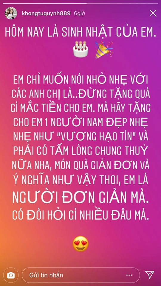 Khổng Tú Quỳnh ẩn ý việc bị phản bội: 'Hãy tặng cho em một người nam đẹp... và phải có tấm lòng chung thủy'? - Ảnh 1