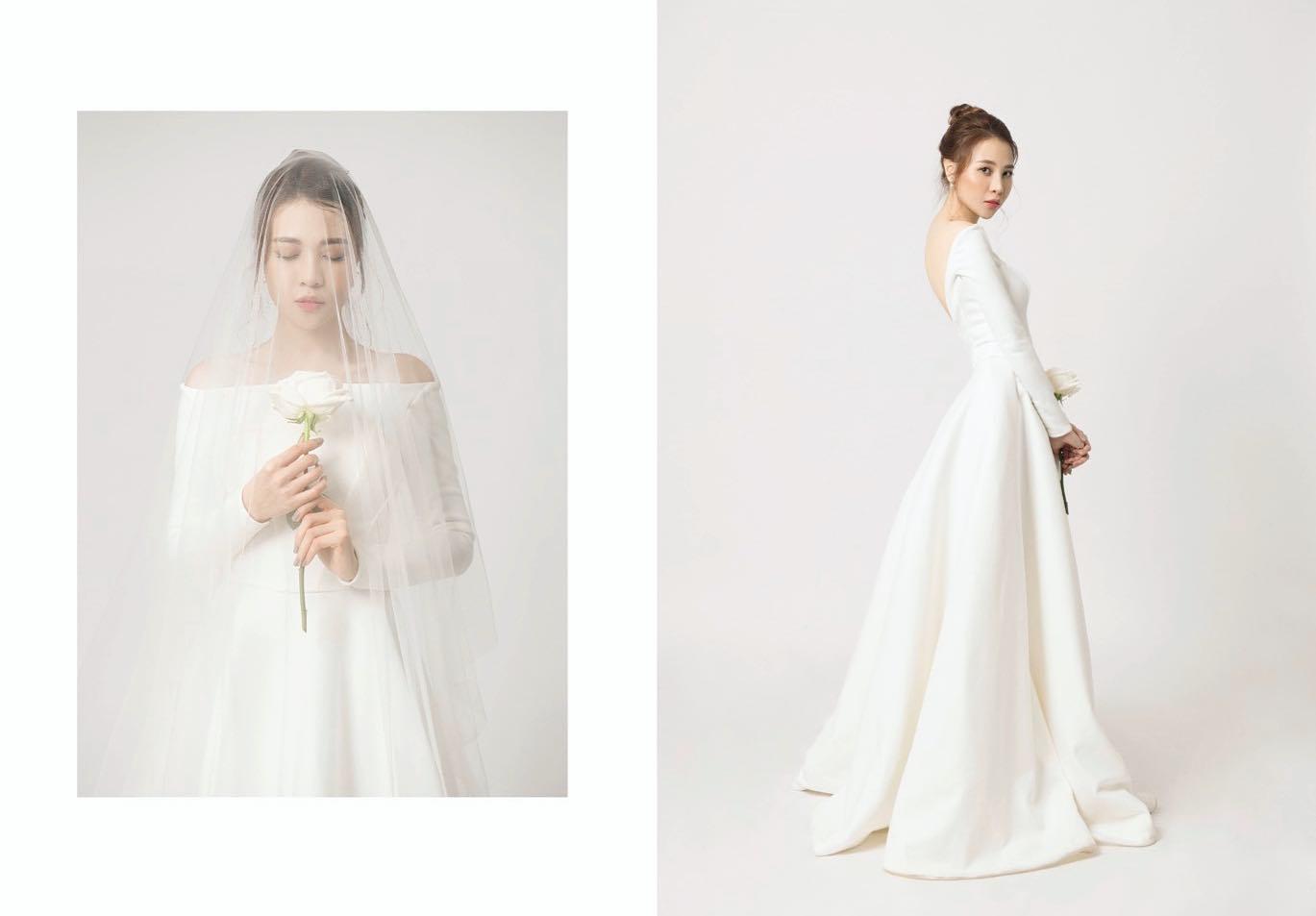 Lộ ảnh cô dâu của Cường Đô la diện váy cưới lộng lẫy, tay cầm hoa, đầu đội khăn voan xinh đẹp - Ảnh 1