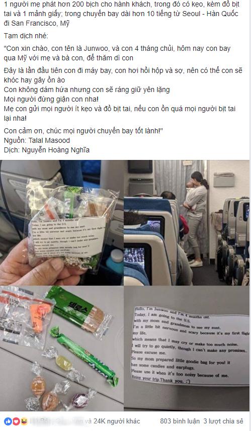 Cho con 4 tháng tuổi đi máy bay, bà mẹ gửi kẹo và bịt tai cho 200 hành khách nhưng đáng chú ý là tờ giấy đính kèm - Ảnh 1