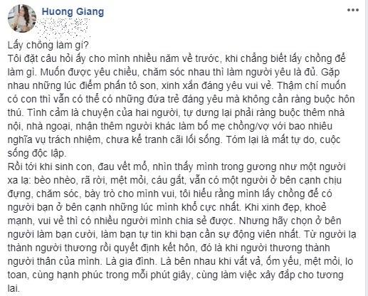 Giữa vụ ly hôn của vợ chồng 'vua cà phê' Trung Nguyên, Hoa hậu Hương Giang tự hỏi: 'Lấy chồng làm gì?' - Ảnh 2