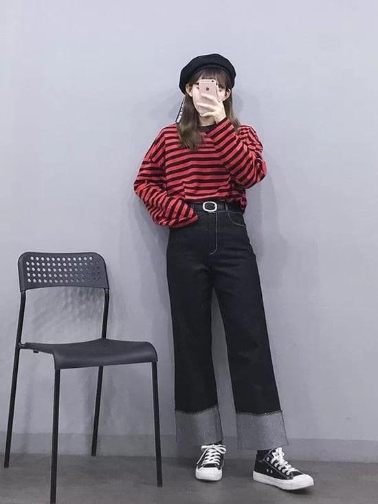 Phối quần ống suông cho trang phục mùa thu - Ảnh 9