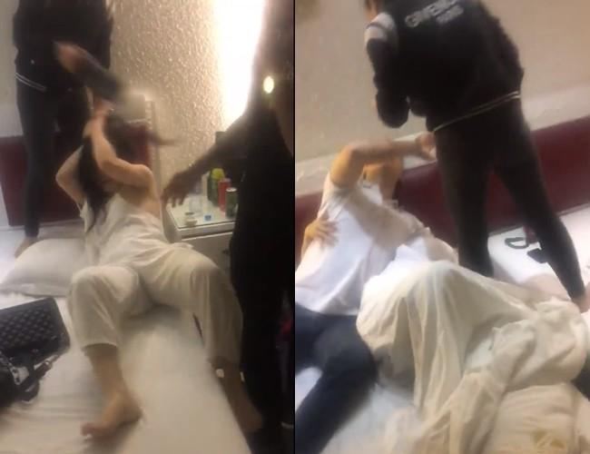 Sôi máu vì chồng 'vui vẻ' với hai gái trẻ trong khách sạn, vợ cầm giày phang liên tiếp vào mặt - Ảnh 1