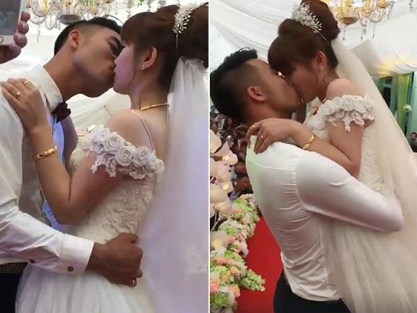 Cô dâu chú rể hôn nhau cuồng nhiệt suốt 3 phút gây tranh cãi - Ảnh 1
