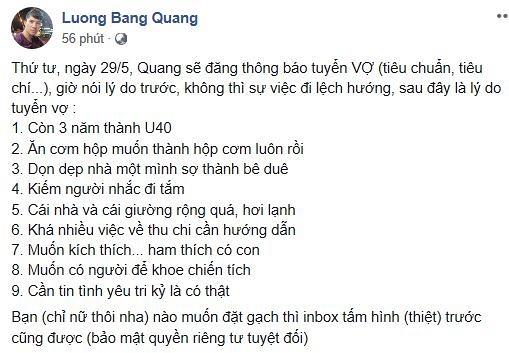 Sau khi chia tay bạn gái Ngân 98, Lương Bằng Quang đăng đàn tuyển vợ - Ảnh 1
