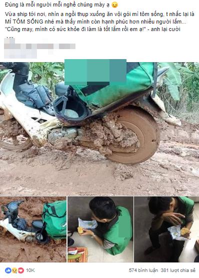 Thanh niên giao hàng ăn vội mì tôm sống, nhìn chiếc xe ngập ngụa bùn đất càng thêm xót xa - Ảnh 1
