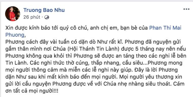 Bạn thân chia sẻ di nguyện của Mai Phương trước khi qua đời: Đã dặn dò chu đáo chuyện hậu sự từ vài tuần trước! - Ảnh 1