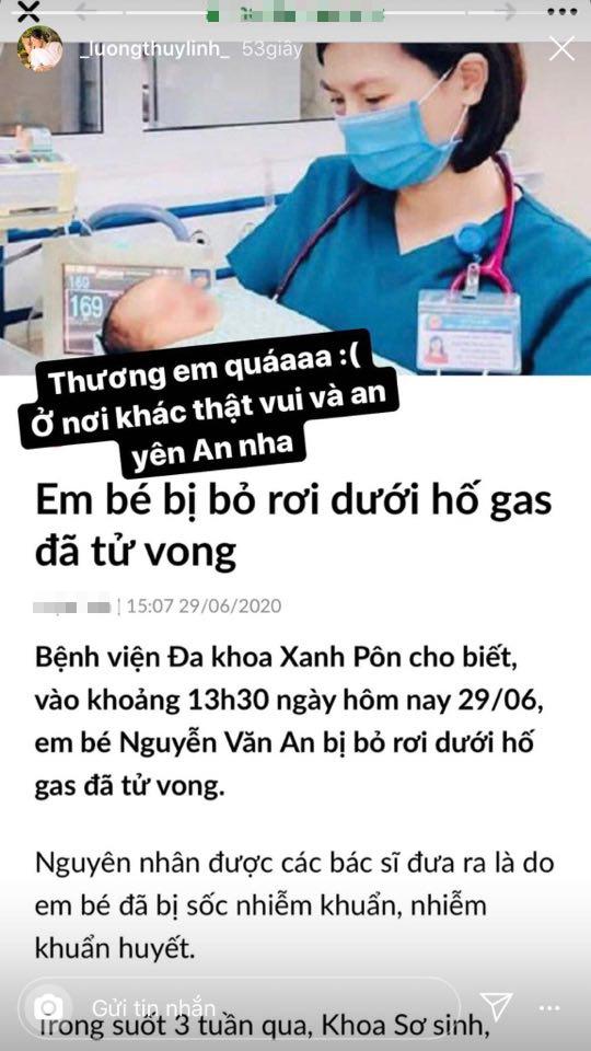Đỗ Mỹ Linh, Lương Thuỳ Linh xót xa khi hay tin em bé bị bỏ rơi ở hố gas đã qua đời: 'Về với thiên đường con nhé!' - Ảnh 5