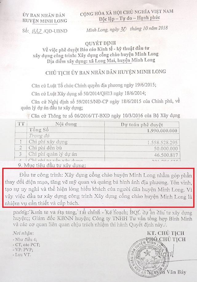 Huyện nghèo Minh Long và dự án cổng chào khủng 2 tỷ đồng - Ảnh 2