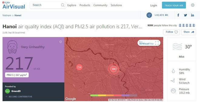 Cảnh báo Hà Nội ô nhiễm ở mức 'tím' từ sáng sớm, khuyến cáo người dân hạn chế ra đường - Ảnh 1