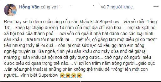 NSND Hồng Vân đóng cửa sân khấu Superbow do mình gây dựng 14 năm - Ảnh 3
