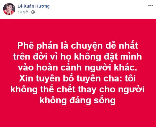 Sau 10 chương tố chồng cũ, NS Xuân Hương lại ẩn ý: Tôi không thể chết thay cho người không đáng sống' - Ảnh 1