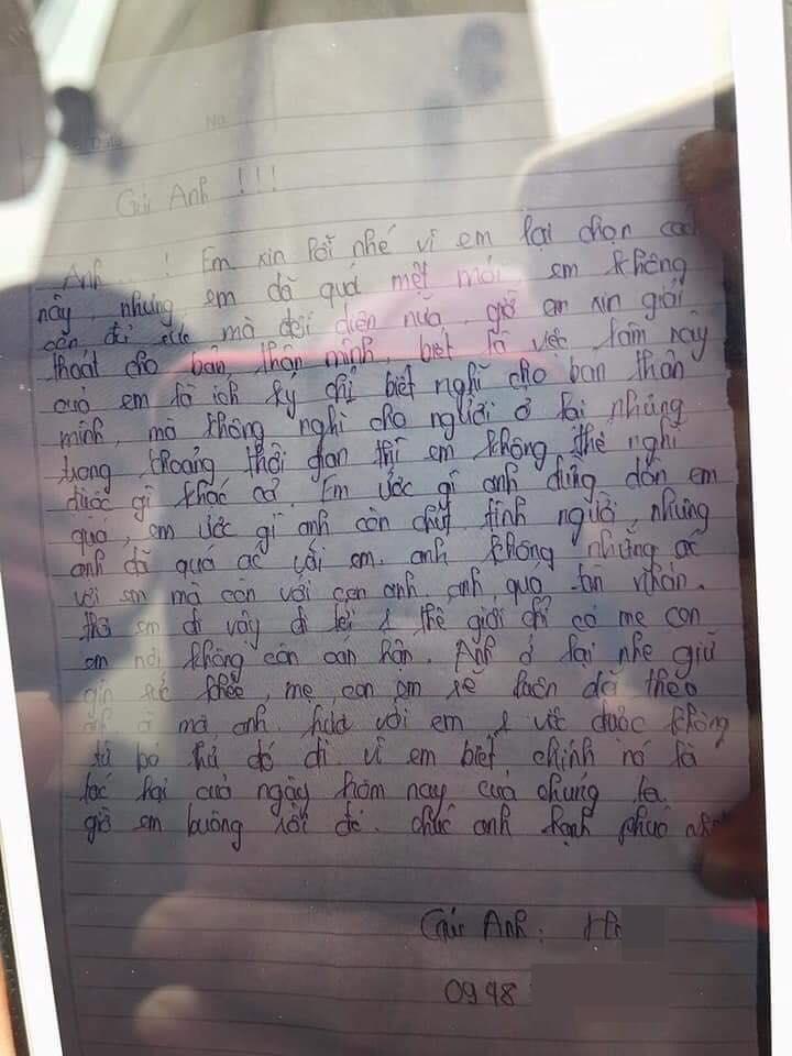 Cô gái mang bầu nhảy cầu để lại thư tuyệt mệnh: 'Mẹ con em sẽ luôn dõi theo anh' - Ảnh 2