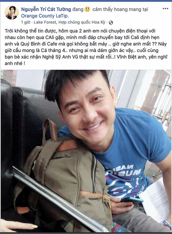 MC Cát Tường kể về cuộc gọi cuối cùng với nghệ sĩ Anh Vũ trước đêm đàn anh ra đi đột ngột - Ảnh 1