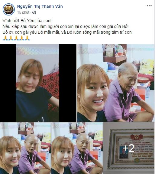 Phi Thanh Vân đau buồn báo tin bố qua đời: 'Nếu kiếp sau được làm người con xin lại được làm con gái của bố!' - Ảnh 1