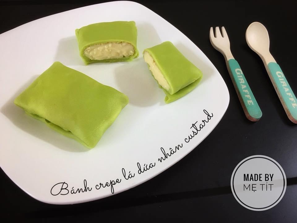 Bánh crepe lá dứa nhân custard chuối – món ngon cho bé - Ảnh 1