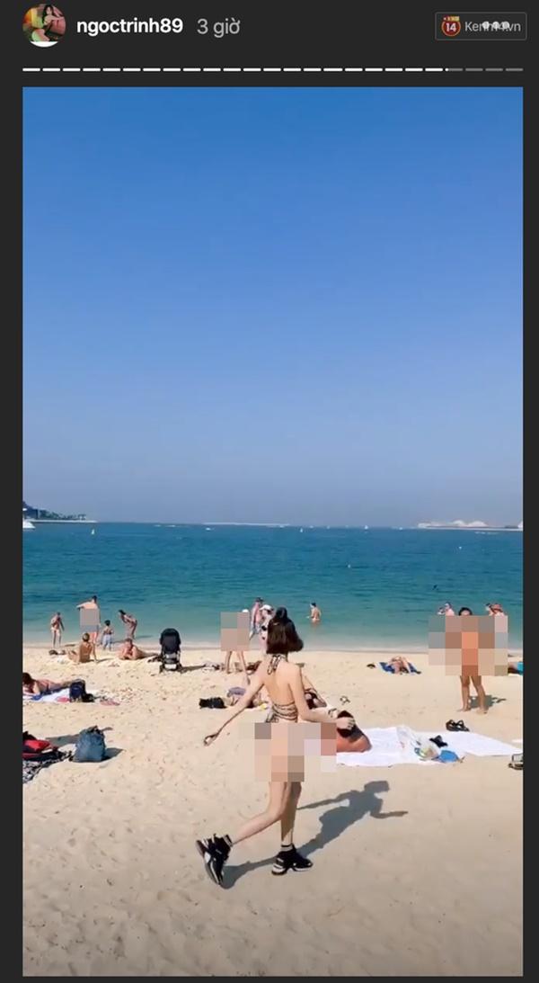 Diện bikini ít vải, Ngọc Trinh lộ vòng một lép, vòng 2 ngấn mỡ bất thường - Ảnh 4