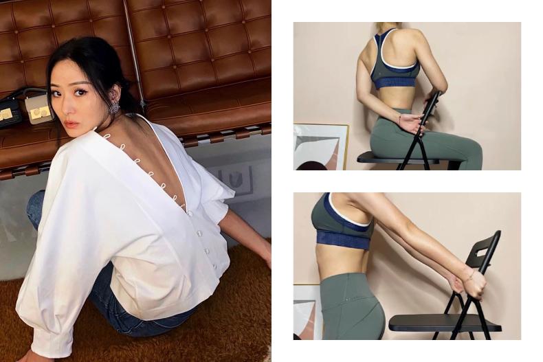 HLV hướng dẫn động tác tận dụng chiếc ghế để tập luyện, giúp các chị em lưng thẳng dáng thon đi trông thấy - Ảnh 1