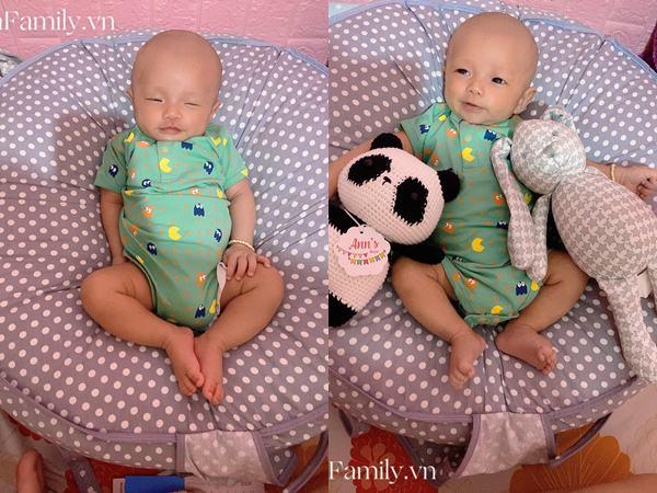 'Vì dịch nên tóc và lông mày đi du lịch chưa về kịp', bé 2 tháng tuổi khiến các mẹ thích thú vì gương mặt siêu hài - Ảnh 3