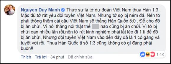 Phán chính xác U23 Việt Nam thua Hàn Quốc 1 - 3, Duy Mạnh bật mí bí kíp dự đoán đội nhà thua mà không bị chửi - Ảnh 3