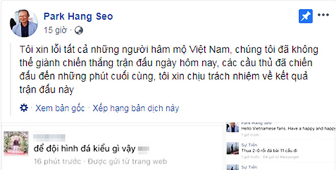 Sao Việt bức xúc trước fan cuồng chỉ trích HLV Park - Ảnh 1