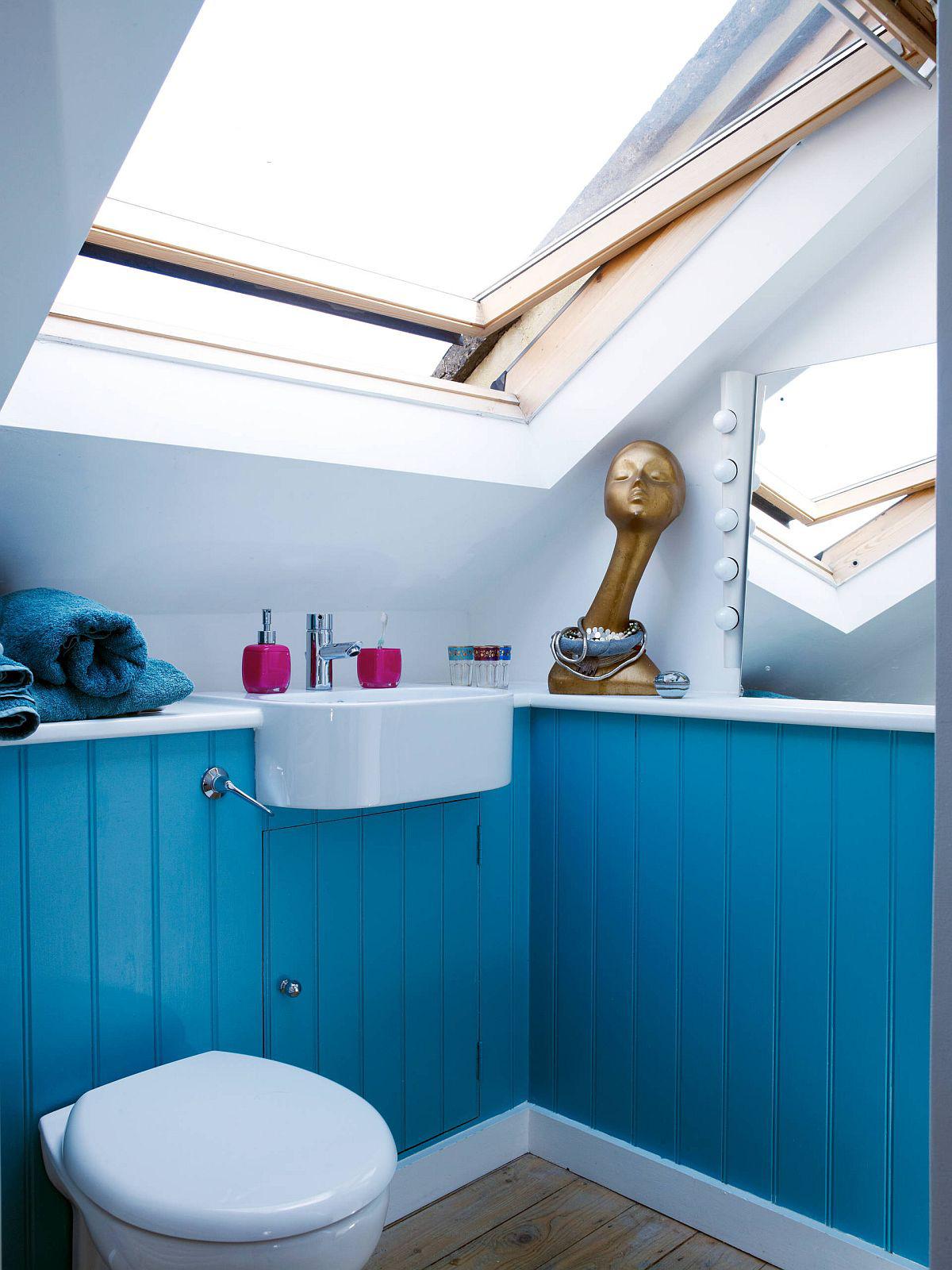 Phòng tắm mùa hè trở nên 'mát lịm' với hai gam màu trắng - xanh - Ảnh 5