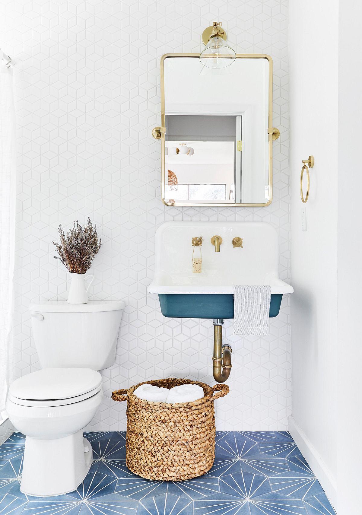 Phòng tắm mùa hè trở nên 'mát lịm' với hai gam màu trắng - xanh - Ảnh 8
