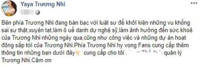 Yaya Trương Nhi tuyên bố sẽ khởi kiện Ngân 98 vì xúc phạm, vu khống cô liên quan tới vụ Lương Bằng Quang bị đánh giữa đường - Ảnh 1