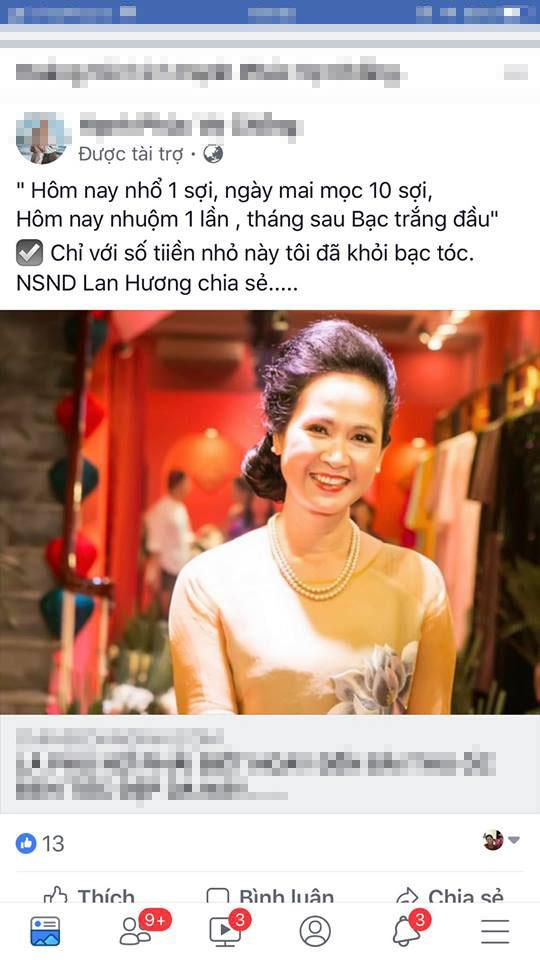 Nghệ sĩ Lan Hương bức xúc vì bị lợi dụng hình ảnh quảng cáo thuốc làm đen tóc - Ảnh 1