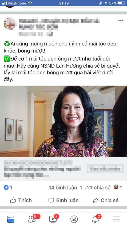 Nghệ sĩ Lan Hương bức xúc vì bị lợi dụng hình ảnh quảng cáo thuốc làm đen tóc - Ảnh 2