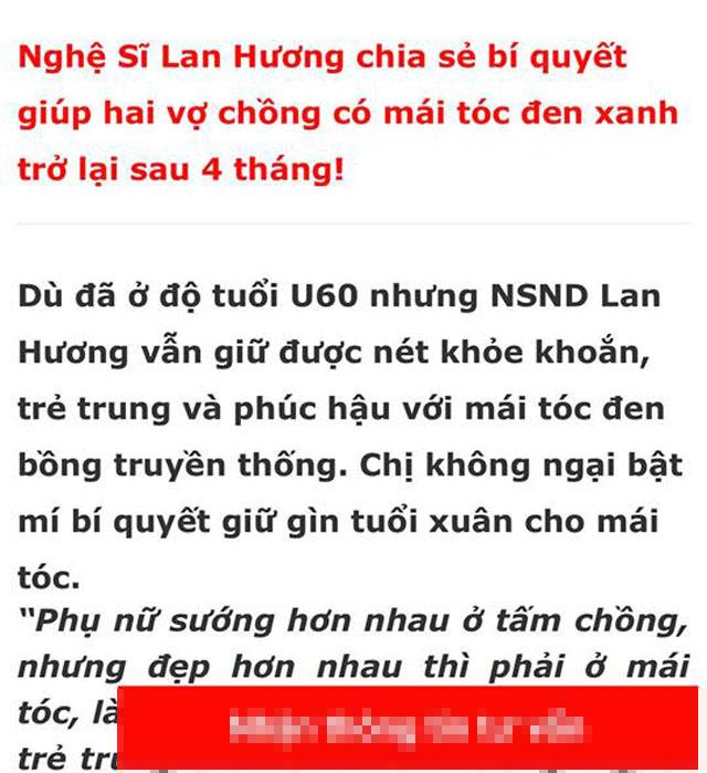 Nghệ sĩ Lan Hương bức xúc vì bị lợi dụng hình ảnh quảng cáo thuốc làm đen tóc - Ảnh 3