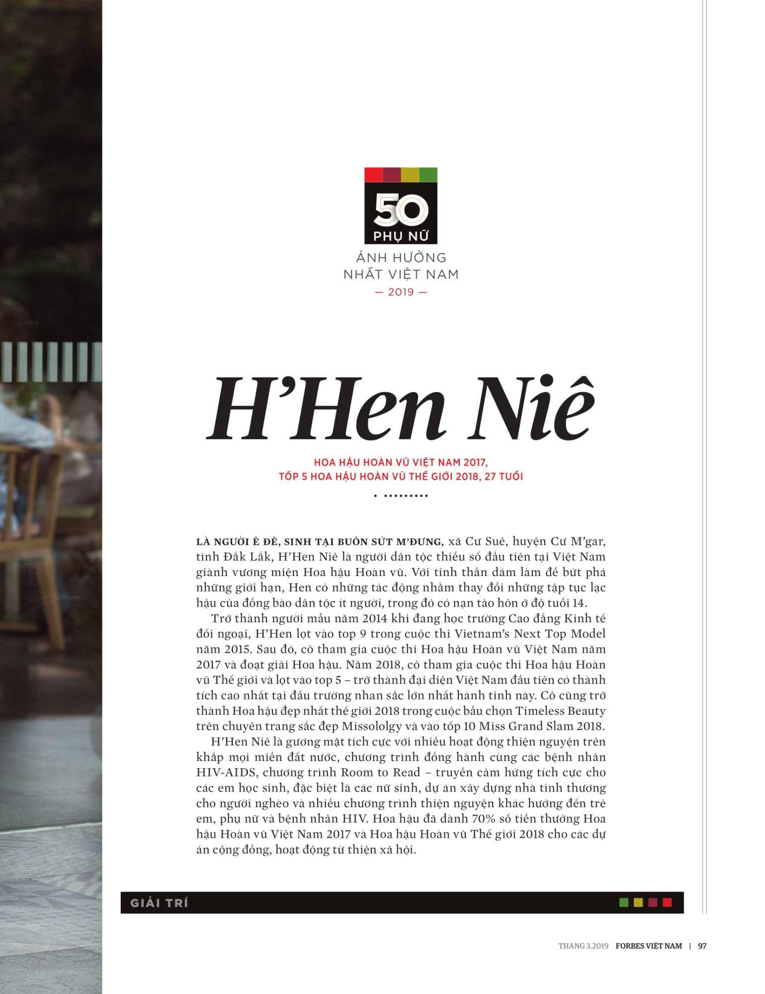 H'Hen Niê được vinh danh trong top 50 phụ nữ ảnh hưởng nhất VN 2019 - Ảnh 2